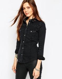 Черная выбеленная приталенная джинсовая рубашка в стиле вестерн ASOS
