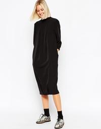 Платье миди со складками спереди ASOS WHITE - Черный