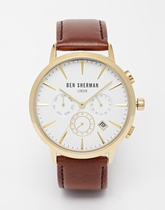 Ben Sherman Chronograph Leather Strap Watch - Коричневый