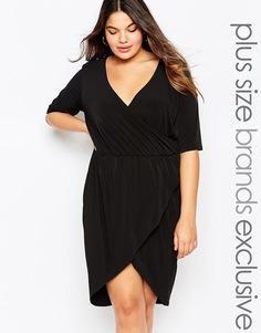 Платье с глубоким вырезом и запахом спереди Pink Clove - Черный