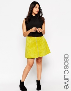 ASOS CURVE A-Line Skirt in Suede with Zip Detail - Шартруз