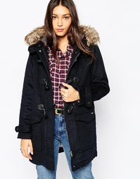 Pepe Jeans Holmes Duffle Coat With Faux Fur Hood - 585