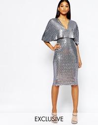 Расшитое пайетками платье миди с рукавами-кимоно и разрезом Club L
