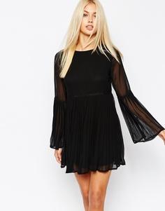 Свободное платье с расклешенными рукавами Missguided - Черный