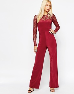 Missguided Flared Lace Jumpsuit - Wine