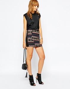 Мини-юбка с ацтекской вышивкой Vila - Черный