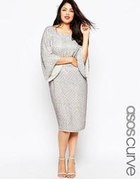 Платье миди с пайетками ASOS CURVE RED CARPET - Серый