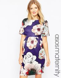 Текстурированное платье для беременных с розами ASOS Maternity