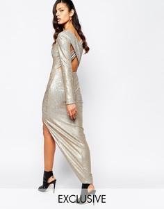 Платье макси с декольте, перекрестом, пайетками и разрезом The 8th Sig