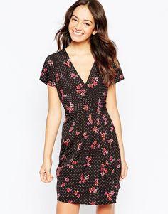 Платье c принтом в горошек и цветами Yumi - Черный