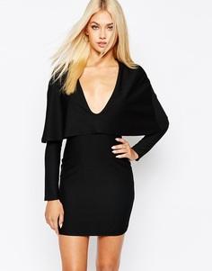 Облегающее платье мини с накидкой Missguided - Черный