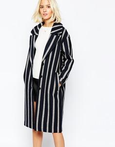 Свободное пальто в полоску Selected Cocoana - Черный с серым