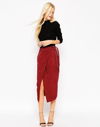 Замшевая юбка-карандаш с поясом оби ASOS - Красный