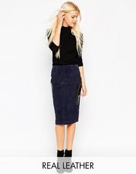 Замшевая юбка-карандаш с карманами ASOS - Темно-синий