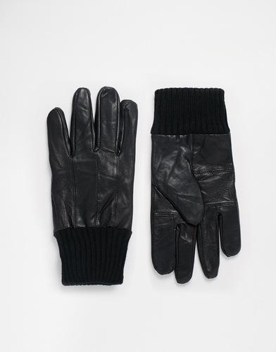 Черные кожаные перчатки с трикотажной отделкой ASOS - Черный