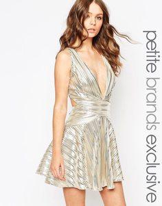 John Zack Petite Metallic Prom Dress with Cross Back - Золотой