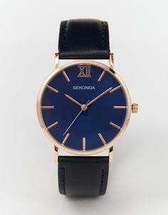 Часы с темно-синим кожаным ремешком Sekonda - Темно-синий