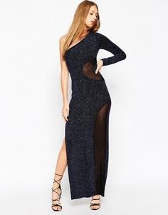 ASOS Glitter One Shoulder Mesh Insert Maxi Dress - Синий