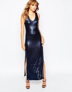 Облегающее платье макси с вырезом на спине Vila - Темно-синий