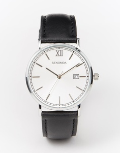 Серебристые часы с черным кожаным ремешком Sekonda - Черный