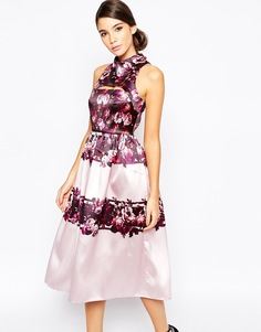 True Violet Full Prom Midi Dress In Sateen With Cut Out - Сиреневый