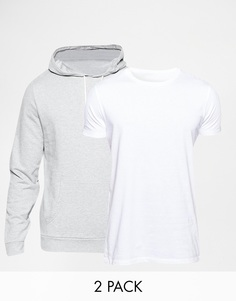 ASOS Hoodie And Longline T-Shirt 2 Pack SAVE 15%