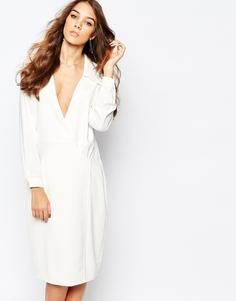 Платье в стиле 70-х с глубоким вырезом и запахом Neon Rose - Белый