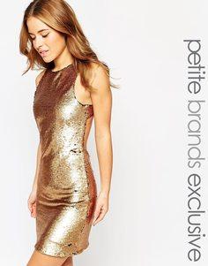Расшитое пайетками платье мини True Decadence Petite - Золотой