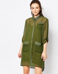 Платье-рубашка с карманами в стиле милитари Dasiy Street - Зеленый