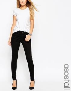 Черные супероблегающие джинсы с завышенной талией ASOS TALL Ridley
