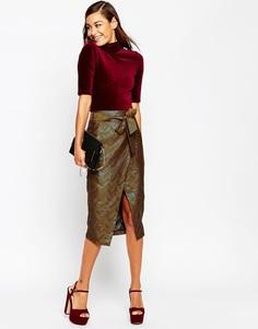 Жаккардовая юбка-карандаш с запахом и шевронным рисунком ASOS