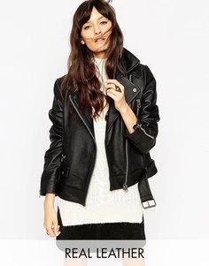 Кожаная свободная байкерская куртка ASOS - Черный