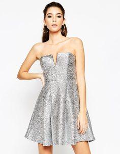 Платье-бандо мини цвета металлик ASOS NIGHT - Серебряный