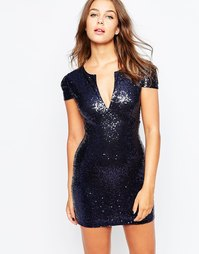 Облегающее платье с пайетками Club L Pam - Темно-синий