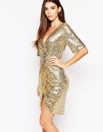 Платье с рукавами кимоно и отделкой пайетками TFNC - Блестящее золото