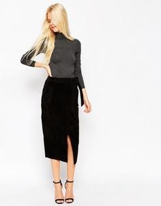 Замшевая юбка-карандаш с поясом оби ASOS - Черный