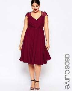 Платье миди с кружевными вставками ASOS CURVE Kate - Burgandy