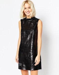 Блестящее платье с высоким воротом и прорехами ASOS Denim - Черный