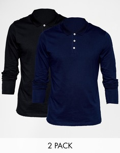 ASOS Long Sleeve Jersey Polo 2 Pack Black/Navy SAVE 18%