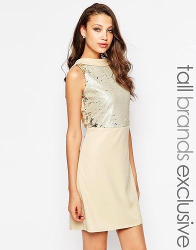 Цельнокройное платье мини с глубоким вырезом на спине Little Mistress