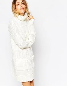 Платье-джемпер крупной вязки с высоким воротом и карманами ASOS