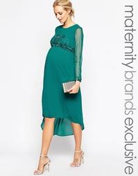 Платье миди для беременных с отделкой на лифе и манжетах Maya Maternit