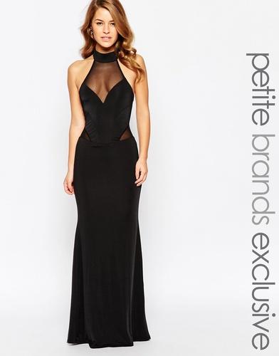 Платье макси с лямкой через шею и сетчатой вставкой Lipstick Boutique