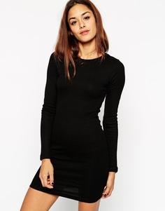 Облегающее платье мини в рубчик с длинными рукавами ASOS - Черный