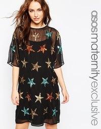 Цельнокройное платье для беременных со звездами ASOS Maternity