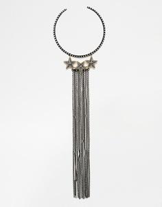 Броское ожерелье‑торк с бахромой из цепочек ASOS - Черный