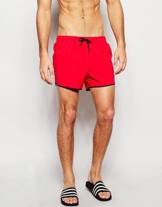 Короткие шорты для плавания красного оттенка ASOS - Красный