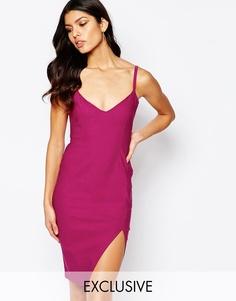 Платье миди на бретельках с разрезом сбоку Vesper - Flaminco pink