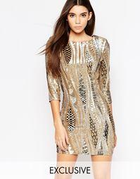 Платье мини с пайетками и рукавами 3/4 TFNC - Gold pattern sequin