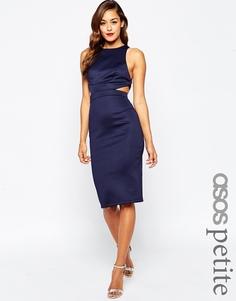 Облегающее платье с вырезом и лямками сзади ASOS PETITE - Темно-синий
